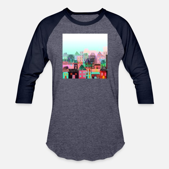 Town T-Shirts - city town - Unisex Baseball T-Shirt heather blue/navy