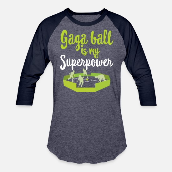 Play T-Shirts - GaGa Ball Shirt The Hexagon Octagon Pit Superpower - Unisex Baseball T-Shirt heather blue/navy