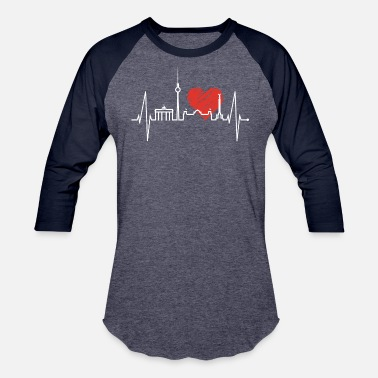 Berlin Bear Berlin Heartbeat Skyline Germany Red Heart Beat - Unisex Baseball T-Shirt