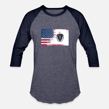 State Of Massachusetts Flag Massachusetts American Flag - Baseball T-Shirt