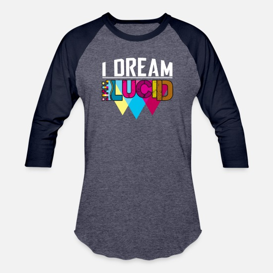 Urban T-Shirts - I Dream Lucid - Unisex Baseball T-Shirt heather blue/navy