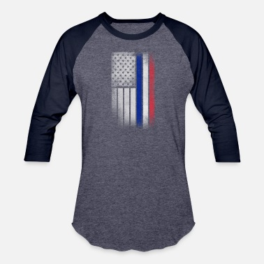 French American French American Flag - Half French Half American - Baseball T-Shirt