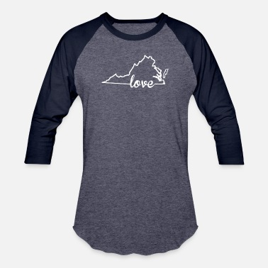 Outline Virginia Love State Outline - Baseball T-Shirt
