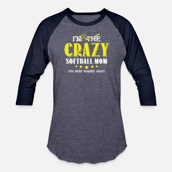 Softball T-Shirts - I'm The Crazy Softball Mom T Shirt - Unisex Baseball T-Shirt heather blue/navy
