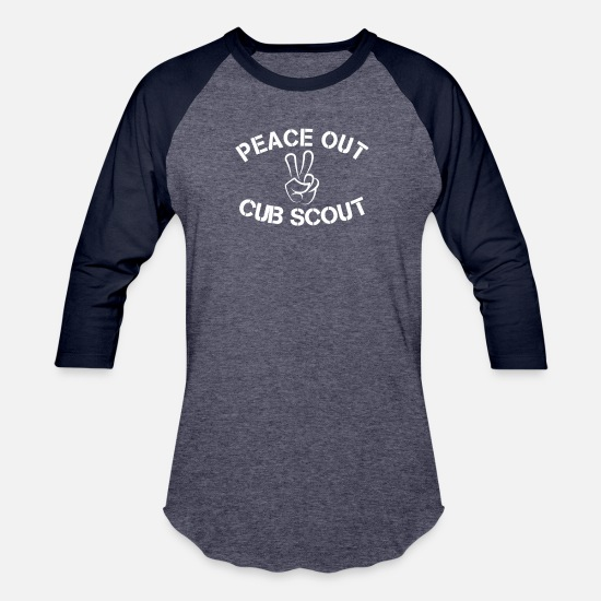 Scout T-Shirts - Peace Out Cub Scout - Funny Cub Scout Shirt - Unisex Baseball T-Shirt heather blue/navy