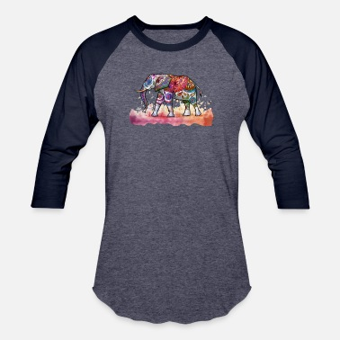 Hippie Movement Colorful Bohemian Hippie Elephant Shirts & Gifts - Baseball T-Shirt