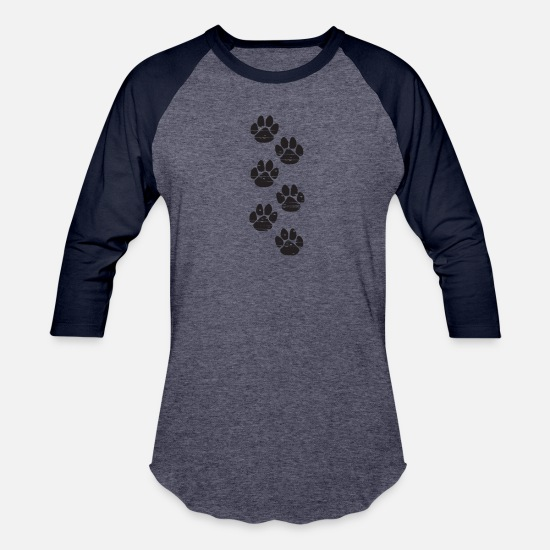 Pet T-Shirts - Dog Foot paw prints - Unisex Baseball T-Shirt heather blue/navy