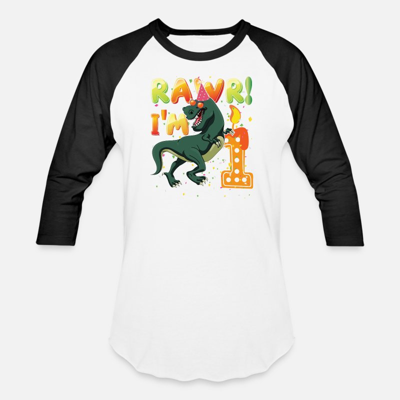 Dinosaur 1st Birthday Shirt 1 Years Old Rawr Im Unisex Baseball T