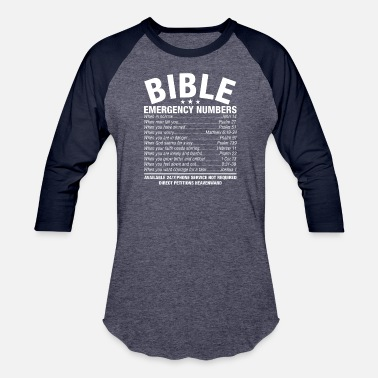 Cool Christian Bible Emergency Numbers T-Shirt Hotline Cool Christian (1) - Baseball T-Shirt