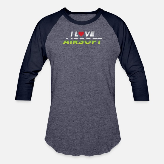 Shooters T-Shirts - Airsoft Lover Shoot Shooter Gift Idea Gift - Unisex Baseball T-Shirt heather blue/navy