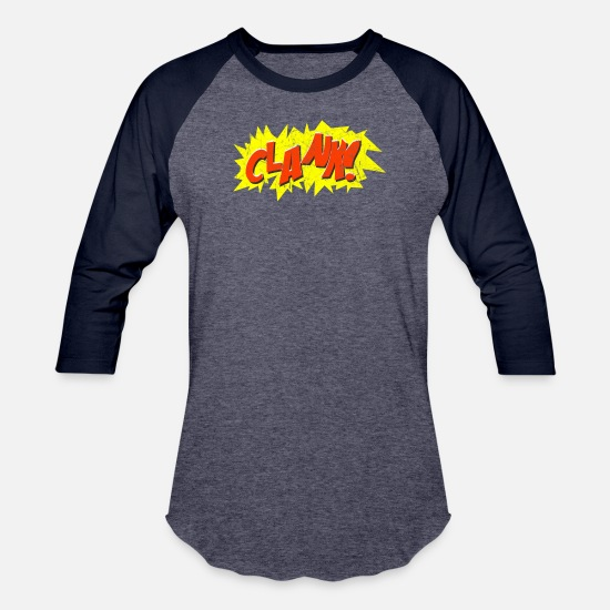Animal T-Shirts - Super Hero Comic Book Onomatopoeia. Clank! - Unisex Baseball T-Shirt heather blue/navy