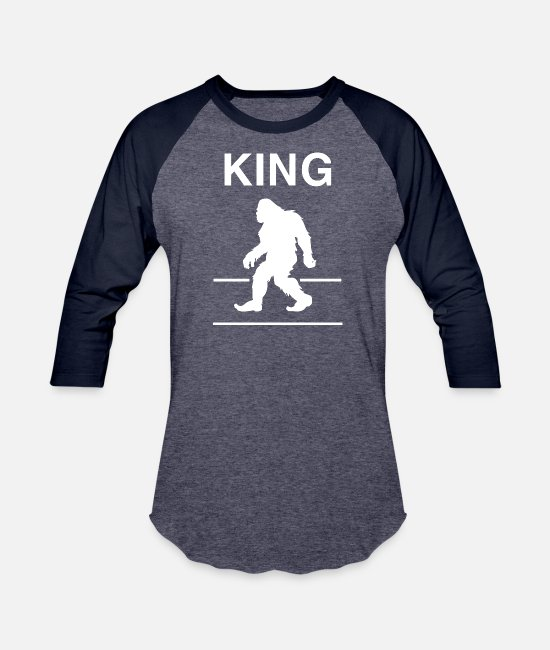 Nice Outfits For Thanksgiving T-Shirts - Funny King Bigfoot T-shirt - Unisex Baseball T-Shirt heather blue/navy