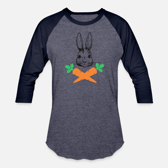 Basket T-Shirts - Easter Bunny with Carrot cross Skull Bones Men - Unisex Baseball T-Shirt heather blue/navy