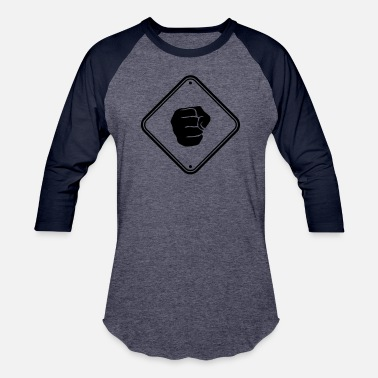 Aggressive caution punches shield warning note zone caution f - Baseball T-Shirt