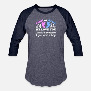 Gender Gender Reveal Party Pink Blue We Love You - Baseball T-Shirt