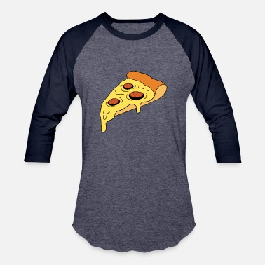 Pizza Slice Slice of yummy delicious cheese pizza with salami - Unisex Baseball T-Shirt