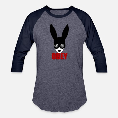 Hypnotic Black fetish bunny, OBEY, hypnotizing rat race - Baseball T-Shirt