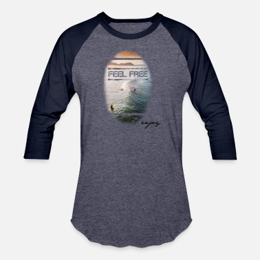 California FEEL FREE surfer sunset - Baseball T-Shirt