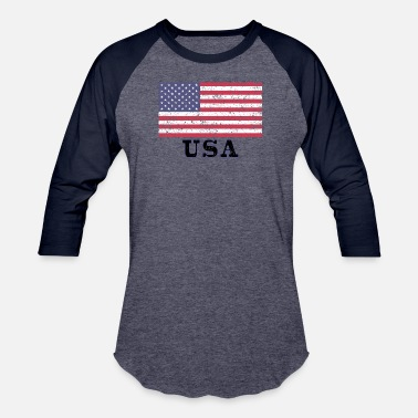 USA Flag - Unisex Baseball T-Shirt