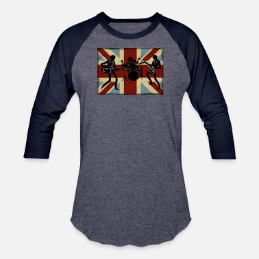 Uk Rock Band British Flag Vintage Rock and Roll Band Gift for Men and Women UK United Kingdom - Baseball T-Shirt