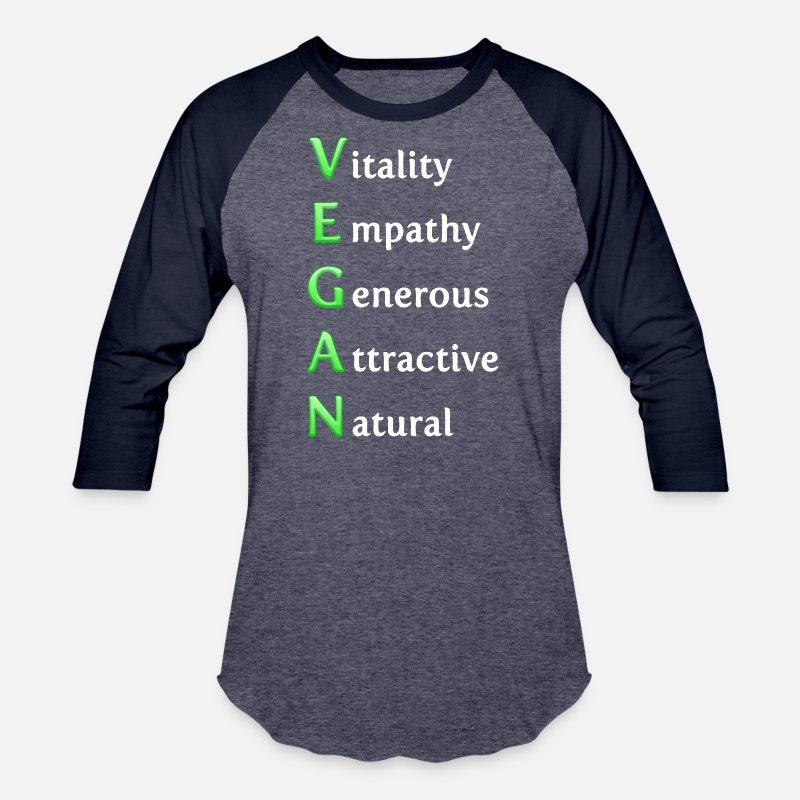 Vegan T-Shirts - Generous Vegan - Natural Healthy Veganism Planet - Unisex Baseball T-Shirt heather blue/navy