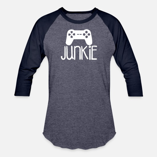 Junkie T-Shirts - Junkie Gamer Geek Nerd - Unisex Baseball T-Shirt heather blue/navy