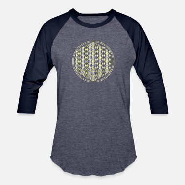 Life Flower flower of life blue and yellow - Unisex Baseball T-Shirt