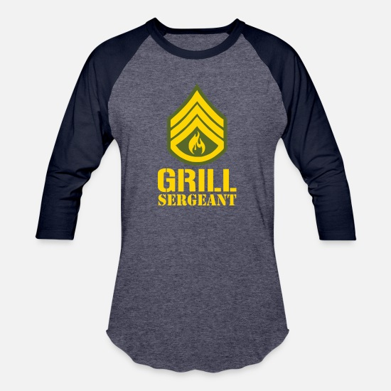 Grill Instructor T-Shirts - Grill Sergeant Military - Unisex Baseball T-Shirt heather blue/navy