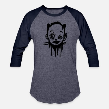 Strange Face Creepy Face - Strange Character - Baseball T-Shirt