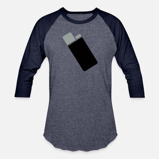 Cigarette T-Shirts - Lighter - Unisex Baseball T-Shirt heather blue/navy