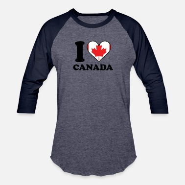 I Heart Canada I Love Canada Canadian Flag Heart - Unisex Baseball T-Shirt