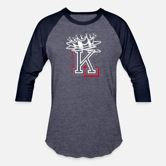 Letter T-Shirts - Letter K with crown - Unisex Baseball T-Shirt heather blue/navy