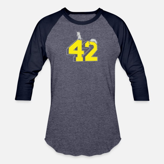 Art T-Shirts - Forty two - Unisex Baseball T-Shirt heather blue/navy