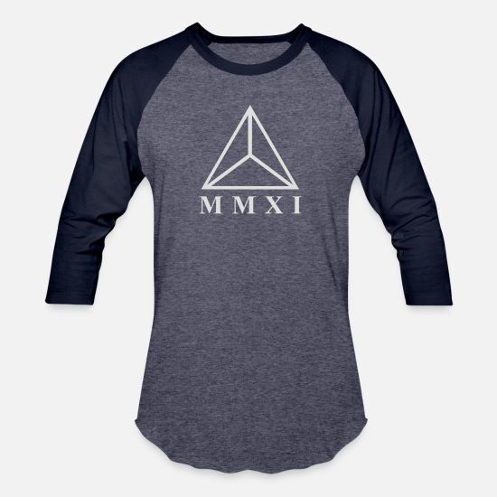 Romanesque T-Shirts - MMXI Roman Numerals Triangle - Unisex Baseball T-Shirt heather blue/navy