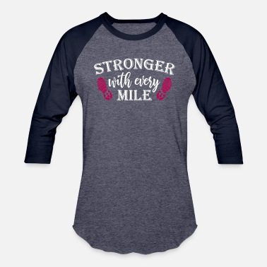 Athletic Office Humor Stronger With Every Mile Running - Baseball T-Shirt