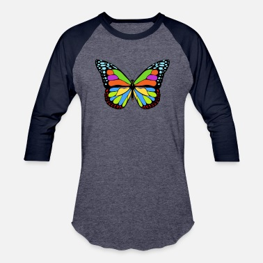 Multi Colored MULTI-COLOR BUTTERFLY - Unisex Baseball T-Shirt