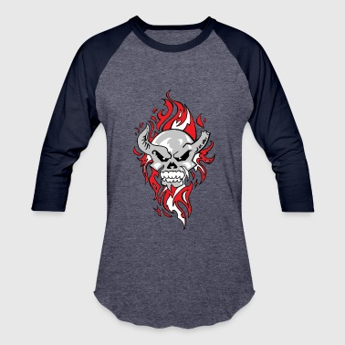 flaming skull - Baseball T-Shirt