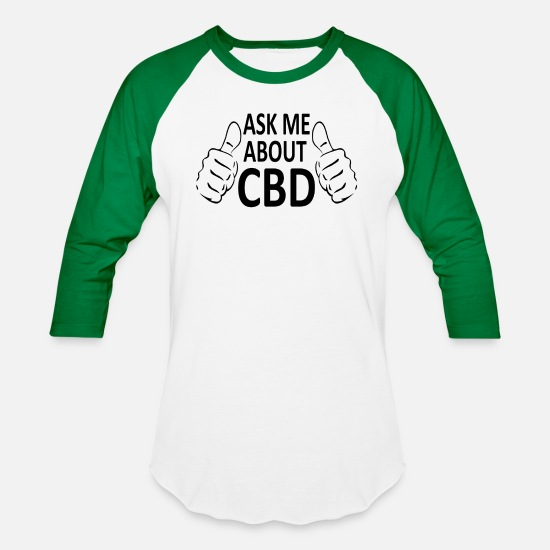 Cbd T-Shirts - Ask Me About CBD - Unisex Baseball T-Shirt white/kelly green