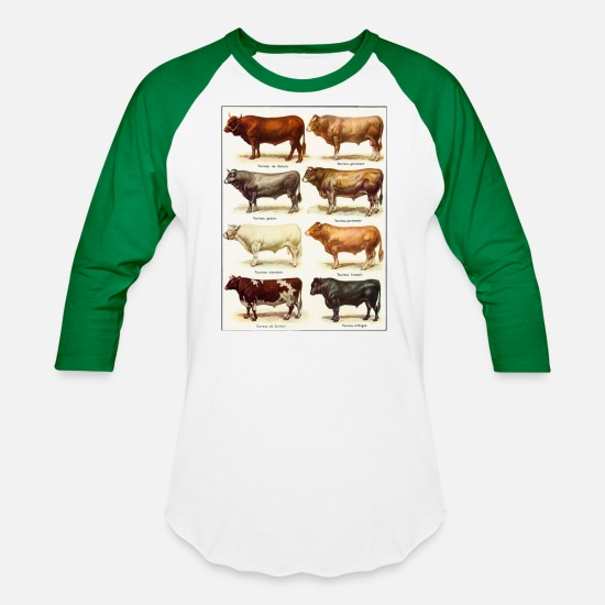 Cattle T-Shirts - Beef Cattle Breeds - Unisex Baseball T-Shirt white/kelly green