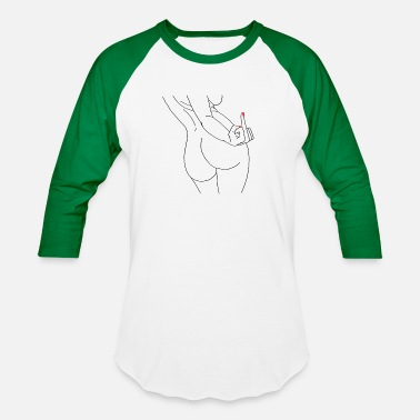 Naked Draw Woman Sexy Erotic Nude Middle Finger - Baseball T-Shirt