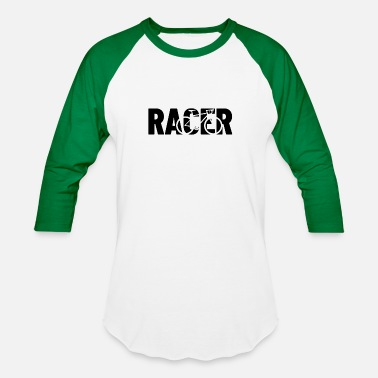 Bike Racer racer with shape of a racer bike - Unisex Baseball T-Shirt