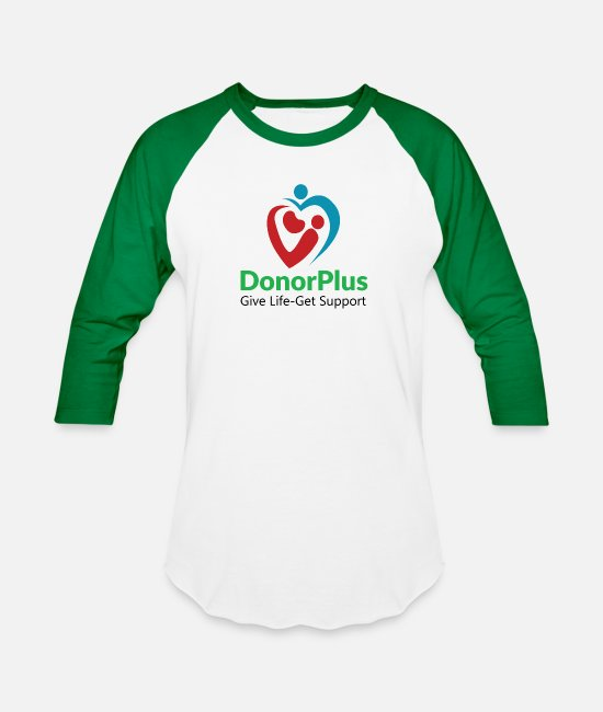 Donorplus T-Shirts - DonorPlus - supporting living kidney donors - Unisex Baseball T-Shirt white/kelly green