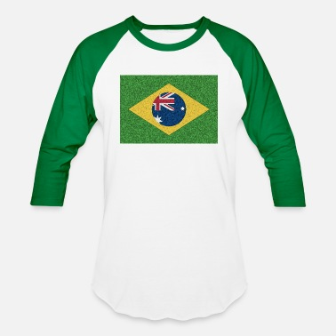 Two Become One Brazil flag with Australia Twist - Baseball T-Shirt