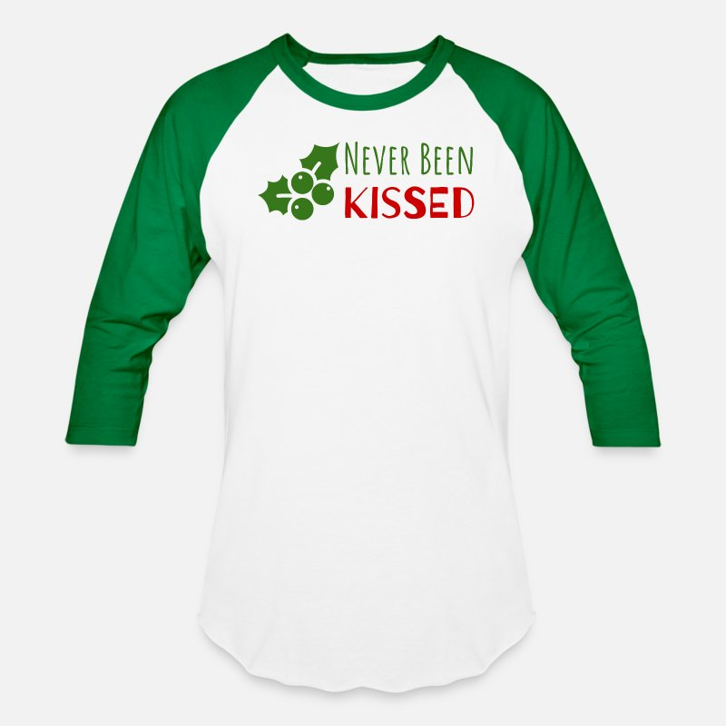 46518337b Never Been Kissed | Funny Mistletoe Unisex Baseball T-Shirt ...