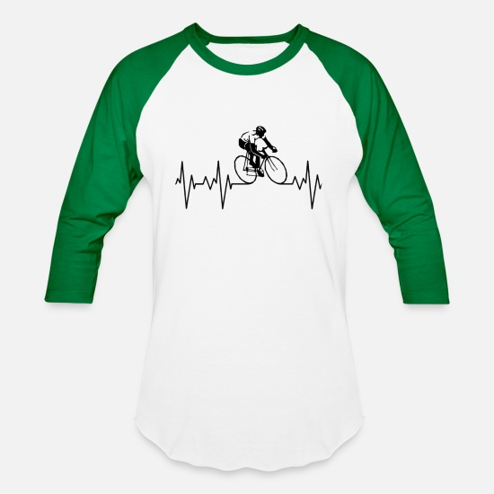 Love T-Shirts - My Heart Beats For Cycling. - Unisex Baseball T-Shirt white/kelly green
