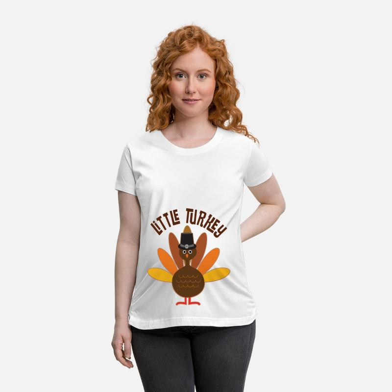 Thanksgiving T-Shirts - Little Turkey Thanksgiving - Maternity T-Shirt white