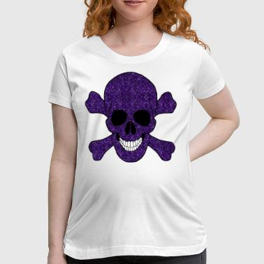 Purple Glitter Skull And Crossbones - Women's Maternity T-Shirt