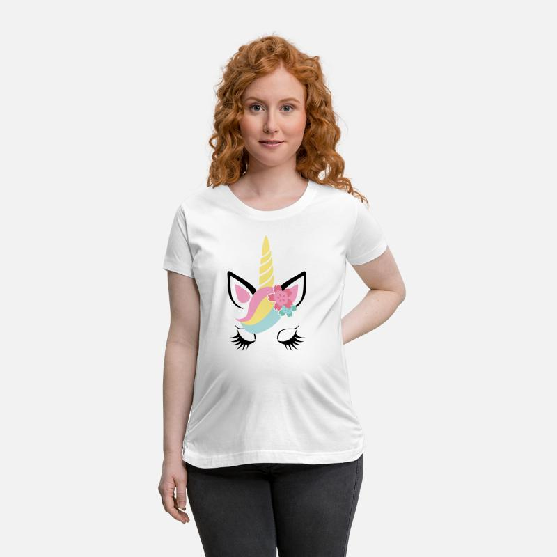 Unicorn T-Shirts - Unicorn face -child-baby-toddler-kid-gift-animal - Maternity T-Shirt white