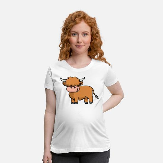 Cute Cow T-Shirts - Highland Cow Gifts Men Women Scottish Highland Cow - Maternity T-Shirt white