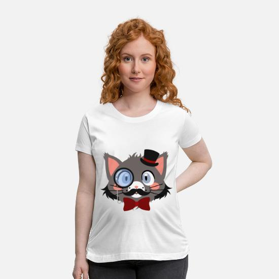 Uncle T-Shirts - Bearded Gentleman Cat with Top Hat and Red Bow Tie - Maternity T-Shirt white